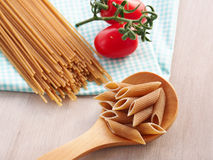 Whole wheat pasta still life Royalty Free Stock Images