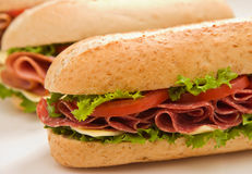 Whole wheat salami submarine s. Fresh whole wheat salami and cheese sandwich with lettuce and tomatoes  in the foreground and a ham sandwich in the background Royalty Free Stock Photo
