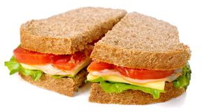 Whole wheat sandwich isolated Royalty Free Stock Images