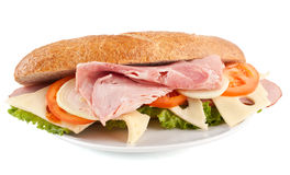 Whole Wheat Sandwich with Roasted Ham Royalty Free Stock Photos