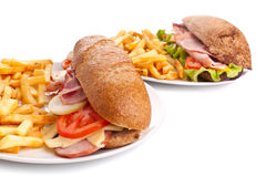 Whole wheat sandwiches with fries Royalty Free Stock Photography