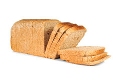 Whole wheat sliced bread. Over white background Stock Photography