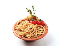Whole wheat spaghetti Stock Photos