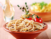 Whole wheat spaghetti Royalty Free Stock Photo