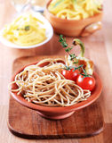 Whole wheat spaghetti Stock Photo