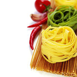 Whole wheat spaghetti and egg pasta nests Stock Photos