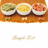 Whole wheat spaghetti and farfalle Stock Images