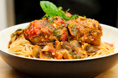 Whole wheat spaghetti and meatballs Stock Photo