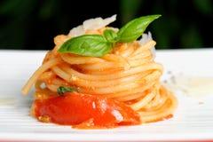 Whole Wheat Spaghetti with Tomato Sauce Stock Photography