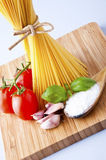 Whole wheat spaghetti and vegetables Stock Photo