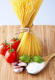 Whole wheat spaghetti and vegetables Stock Images
