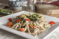 Whole wheat spaghetti with vegetables Royalty Free Stock Photo