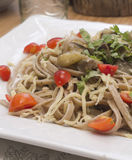 Whole wheat spaghetti with vegetables Stock Photography