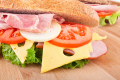 Whole wheat stuffed sandwich Stock Photos