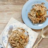 Whole wheat tagliolini with mushrooms Porcini. Whole wheat tagliolini with mushrooms  Porcini Royalty Free Stock Photos