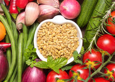 Whole wheat and vegetables Royalty Free Stock Images