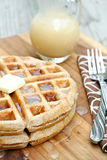 Whole Wheat Waffles with Homemade Syrup Royalty Free Stock Photos
