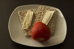 Whole wheta bred with cheese. And tomatoes Royalty Free Stock Photos