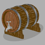 Whole wood barrel. Vector illustration logo for whole wood barrel filled with wine,background.Barrel drawing consisting of tag label,natural container made of Royalty Free Stock Photos