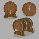 Whole wood barrel. Vector illustration logo for whole wood barrel filled with wine,background.Barrel drawing consisting of tag label,natural container made of Stock Photography