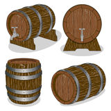 Whole wood barrel. Vector illustration logo for whole wood barrel filled with wine,background.Barrel drawing consisting of tag label,natural container made of Royalty Free Stock Image