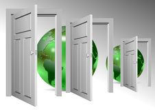 Whole world behind door Stock Photos