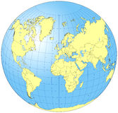Whole World Globe. A unique map projection that displays all the countries of the world on one side of a globe. In the EPS version, countries and oceans are Royalty Free Stock Photo