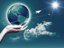 Whole world in her hands Royalty Free Stock Photography