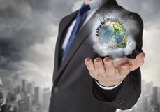 Whole world in his hands . Mixed media Royalty Free Stock Image