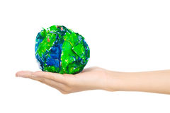 Whole world-on my hand! Stock Image