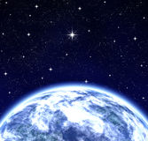 Whole world wishing on star in space royalty free illustration
