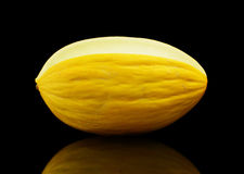 Whole yellow Canary melon isolated black in studio Royalty Free Stock Image