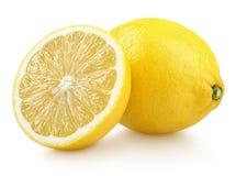 Whole yellow lemon citrus fruit with half isolated on white. Group of ripe whole yellow lemon citrus fruit with lemon fruit half isolated on white background stock photo