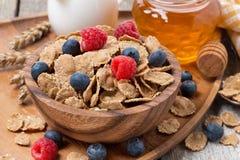 Wholegrain хлопья с свежими ягодами, медом и молоком Стоковое Фото