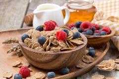 Wholegrain хлопья с свежими ягодами, медом и молоком стоковые изображения rf