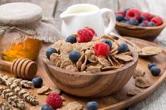 wholegrain хлопья с ягодами, медом и молоком для завтрака Стоковые Изображения RF