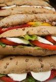Wholegrain baguette z pomidorami, mozzarellą i sałatą, Fotografia Stock