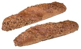 Wholegrain baguettes kropiący z słonecznikowymi ziarnami fotografia royalty free