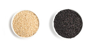 Wholegrain Black and White Rice. Wholemeal. Integral. On white background Stock Image