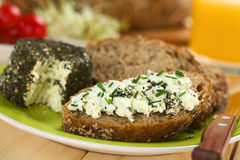 Wholegrain Bread with Goat Cheese Royalty Free Stock Image