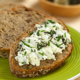 Wholegrain Bread with Goat Cheese Stock Image