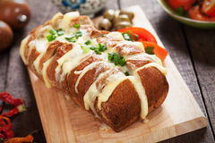 Wholegrain bread stuffed with cheese Royalty Free Stock Images