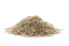 Wholegrain brown basmati rice on white Stock Photography