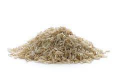 Wholegrain brun basmati rice på white Arkivbild