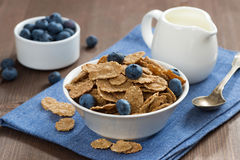 Wholegrain flakes with blueberries and jug of milk Stock Photo