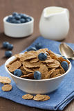 Wholegrain flakes with blueberries and jug of milk, vertical Royalty Free Stock Photo