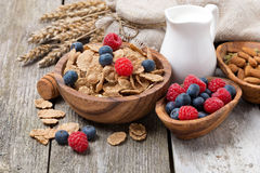 Wholegrain flakes with fresh berries, nuts and milk Stock Photos