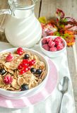 Wholegrain granola with milk and fresh berries Royalty Free Stock Image