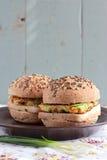 Wholegrain hamburgare med tofuen Arkivbilder