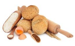 wholegrain ingrediensrullar Arkivfoton